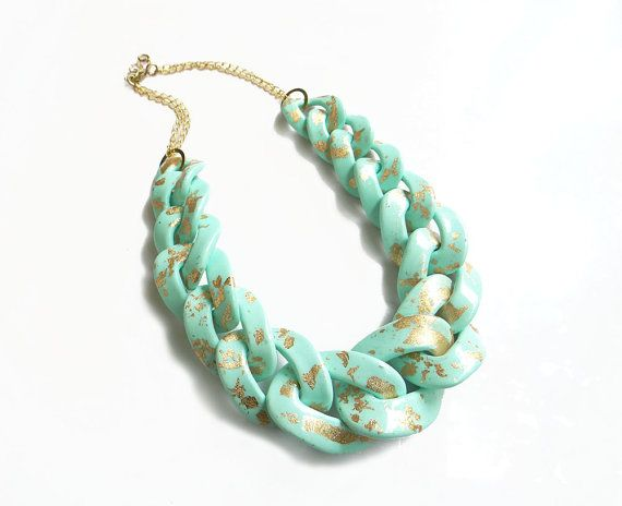 Mint Gold Chain Link Necklace Oversized Chunky Chain by AlinaandT, $48.00