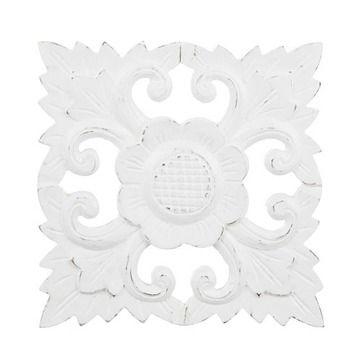 Väggdekor i trä - White Flower
