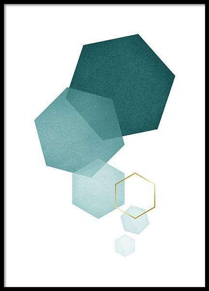 Petrol Hexagon, Poster in der Gruppe Poster / Größen und Formate / 21x30cm bei…