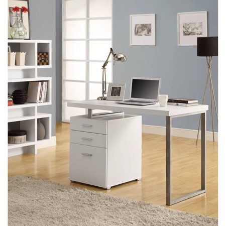 Monarch Computer Desk 48 L White Left Or Right Facing Walmart Com Desk With Drawers White Desks Desk With File Drawer