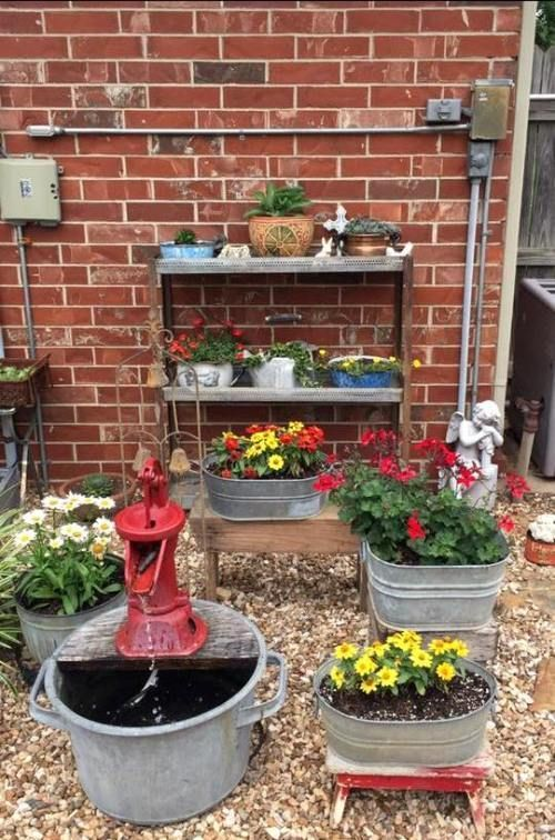 Brenda Townzen My Water Feature And Cute Galvanized Tubs
