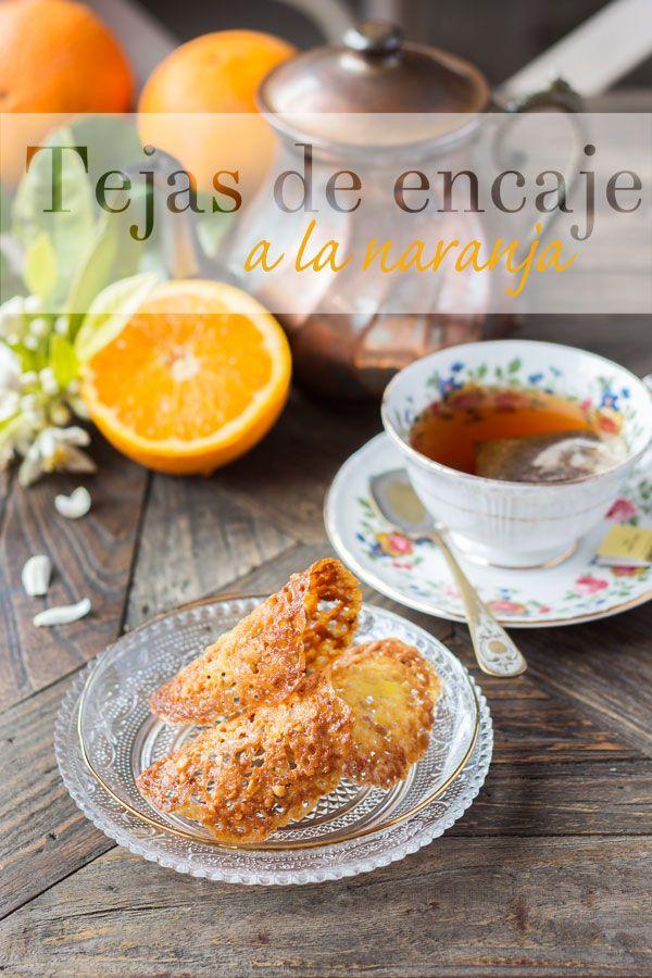 Tejas de encaje a la naranja, unas galletas finas y delicadas