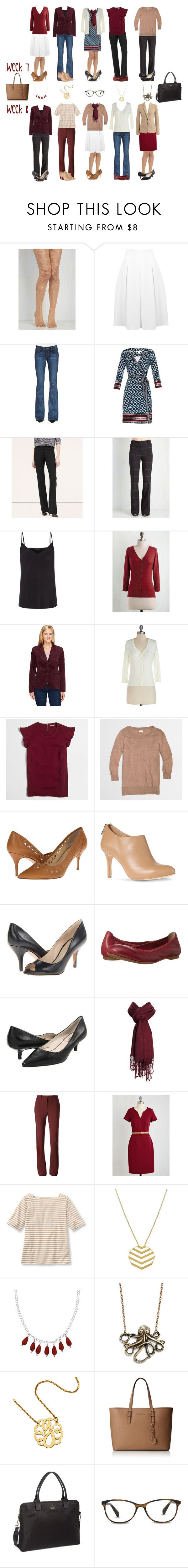 Camel & Cranberry Capsule: Week 7 & 8 by kristin727 on Polyvore featuring Diane Von Furstenberg, J.Crew, MINKPINK, Isaac Mizrahi, Paige Denim, Lanvin, Miss Selfridge, Paul Smith, Nine West and rsvp