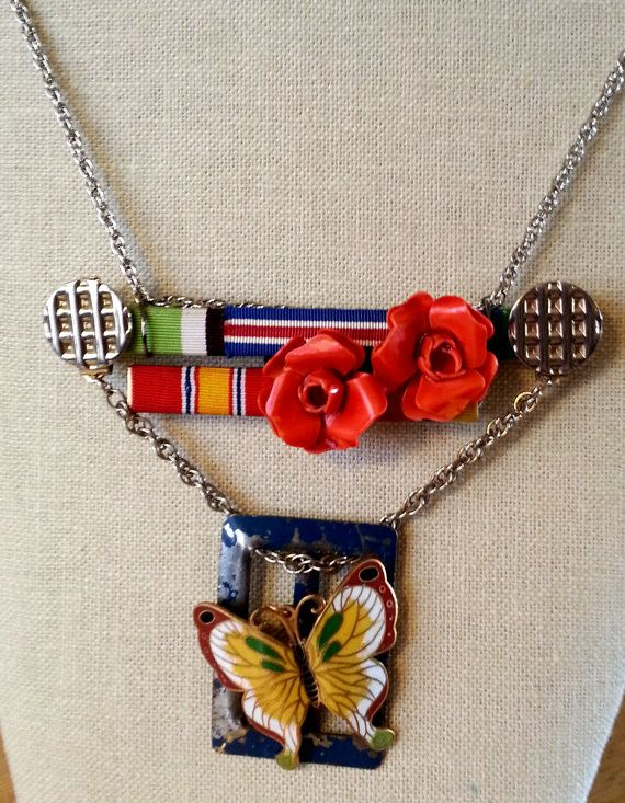Ribbons Roses & Butterfly Military Ribbon Steampunk by AlterEchos, $40.00