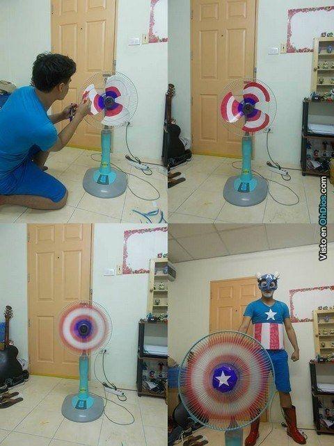 Este disfraz del Capitán América hecho en casa. Escudo incluído: