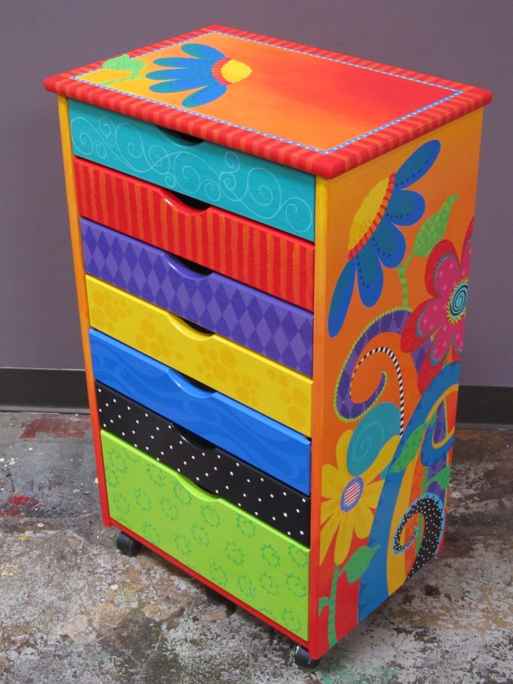Storage Cabinet - Handpainted by my aunt!!  More on AM Designs.  :)