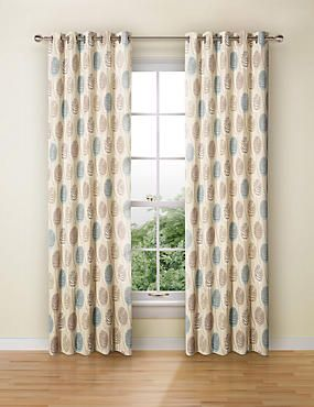 Duck Egg Contemporary Leaf Eyelet Curtains