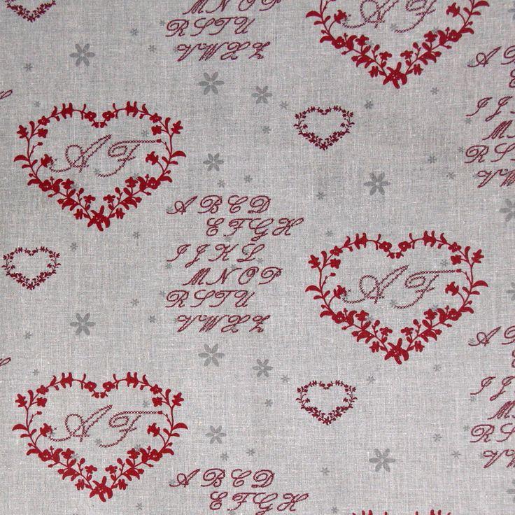 Lino greggio naturale Natale Country cuori rossi lettere tovaglie cuscini | eBay