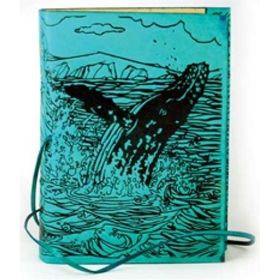 "Whale Journal in Beautiful Sea Green Leather. Size: 5"" X 7"". Acid Free Linen Cotton Handmade Blank Paper"