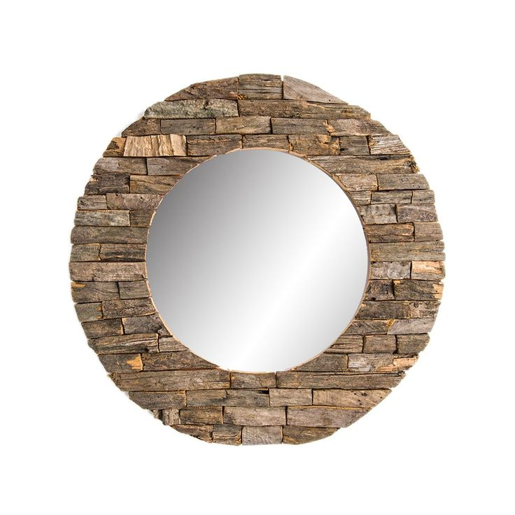 "Mirror - Davina Home Classic Wooden Wall Mirror - Handmade Wall Mirror, Decorative Mirror, Large Mirrors, Handmade Wood Art, Round 24"". Handmade Wood Wall Mirror, Unique decor for your home. Enjoy your life by adding this natural feel mirror to your home. Size: 24"", Large Round Wall Mirror. Great as living room mirror, bedroom mirror, and also outdoor decor mirror. Perfect Farmhouse Decor, and Housewarming Gift."