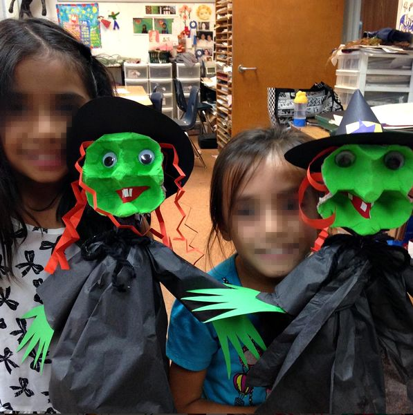 Learn how to make an egg carton witch puppet for a halloween craft!
