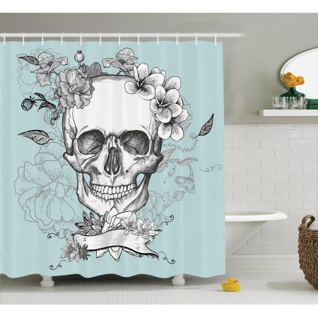 Turquoise Shower Curtain Set Skull And Flowers Day Of The Dead