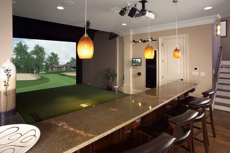 Custom golf simulator rooms & man caves by www.indoorgolfdesign.com