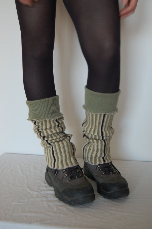 Long Leg Warmers Made from Recycled Clothing Stripes by annawoz, $23.00