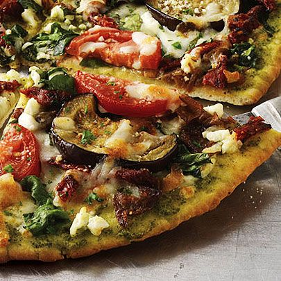 Roasted Eggplant, Spinach, and Feta Pizza with sun-dried plum tomatoes ...
