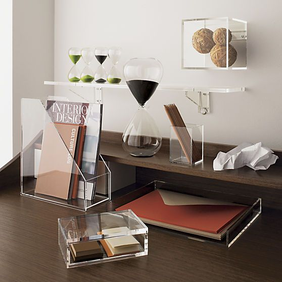 clean your desk. Or anywhere you have stuff. Crystal clean acrylic desk accessory organizes in not-so-plain sight.