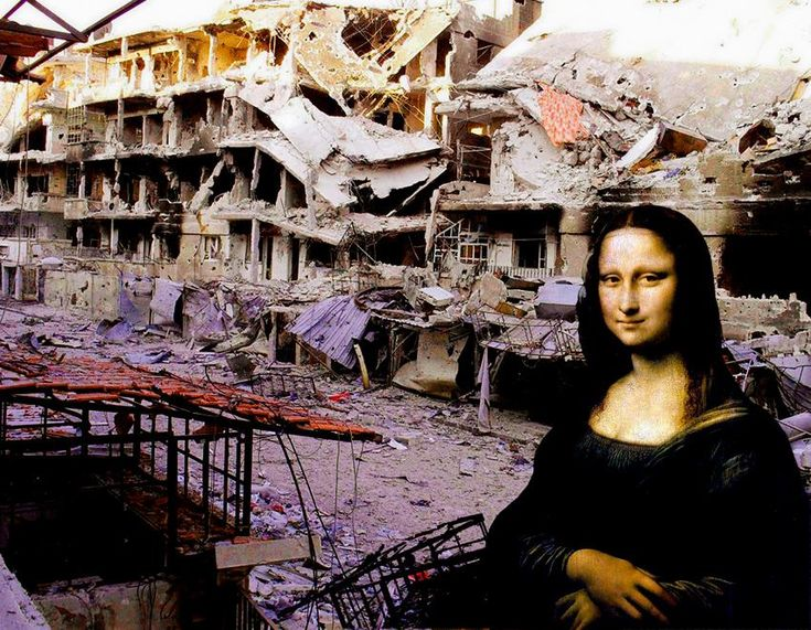 Tammam Azzam, Syria: part of digitally manipulated series entitled 'Syrian Museum', Tammam superimposed iconic artworks onto images of the violence and destruction in Syria. His images bluntly demonstrate how the destruction in Syria has become a show, the latest fashion that took the world by storm, yet not much is done on the ground to stop it. An impressive body of work! Syria: - Artists - Ayyam Gallery