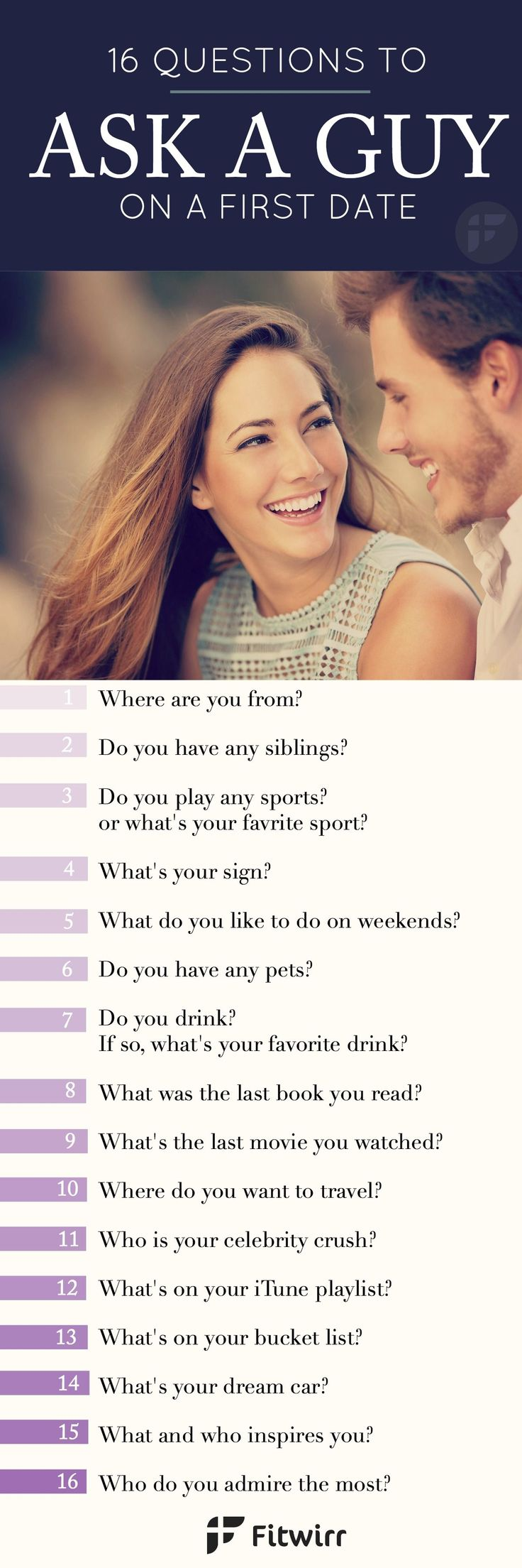 16 Questions to ask a guy on a first date to ensure flowing conversation and get a peek of his values, interests and beliefs.