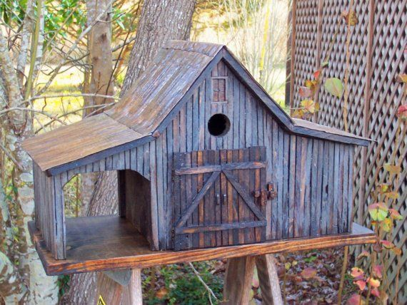 COUNTRY FARM SHED BIRDHOUSE WITH TIN ROOF  by millcreekcrafts