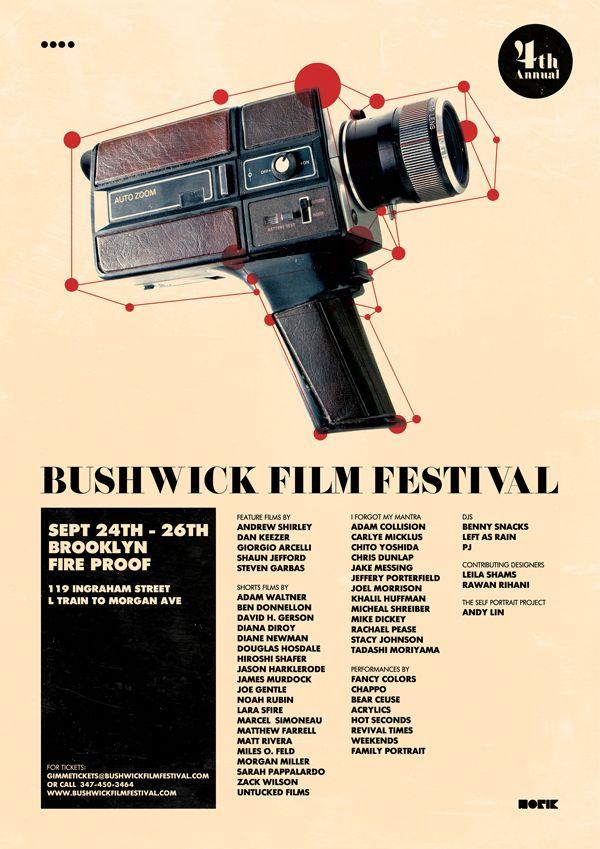 film festival poster: Festival Posters, Posters Inspiration, Film Festivals, Picture-Black Posters, Festivals Posters, Bushwick Film, Fest Posters, Posters Design, Graphics Design