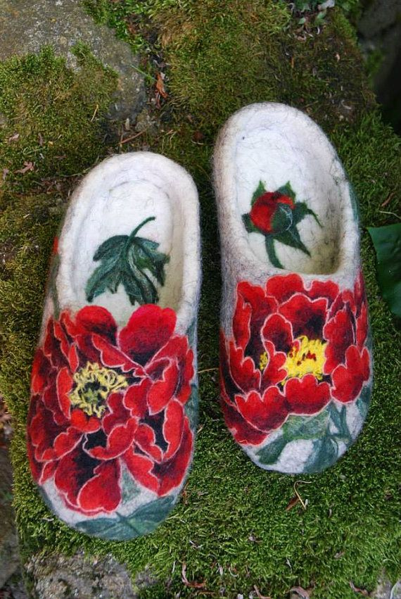 Felted Slippers Peonies EU size 38/39 ♥ by IrinaU on Etsy, $250.00