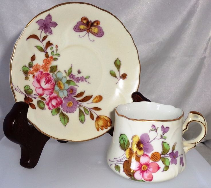 Lefton China Cup and Saucer Hand Painted White w Roses and Gold  #LEFTON