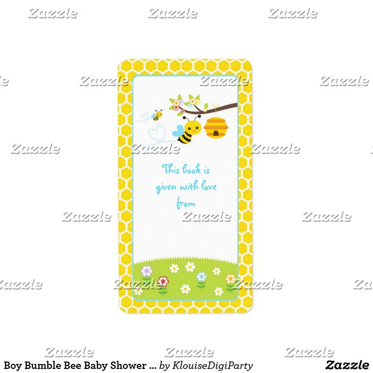 Boy Bumble Bee Baby Shower Bookplate
