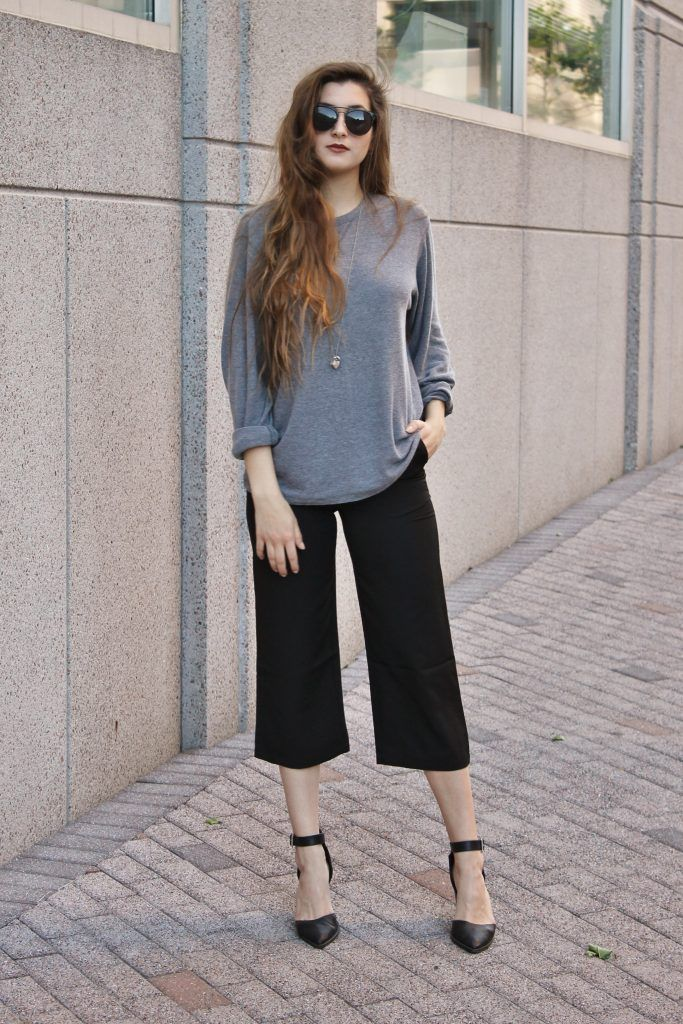 Black Casual Polyester Plain Straight Leg Pant