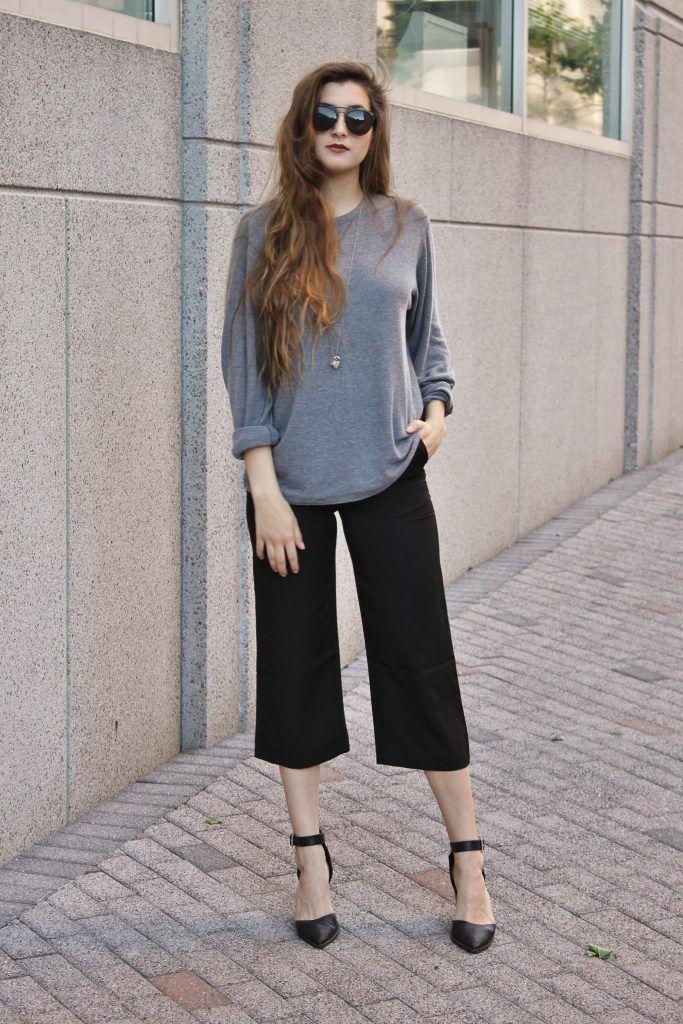 Black Casual Polyester Plain Straight Leg Pant
