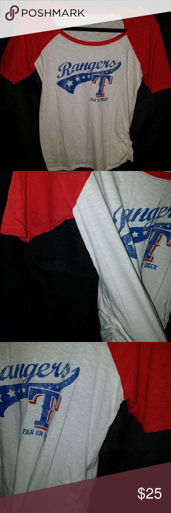 """Tx Rangers """"Fan on board"""" maternity shirt Soft as a grape maternity sports shirts. Elastic stretch rivets on both sides of the shirt for maximum coverage for expecting mommy's. Perfect to support your Rangers Pride. Sporting a size small. One small hole on the back of the neck. soft as a grape Tops"""