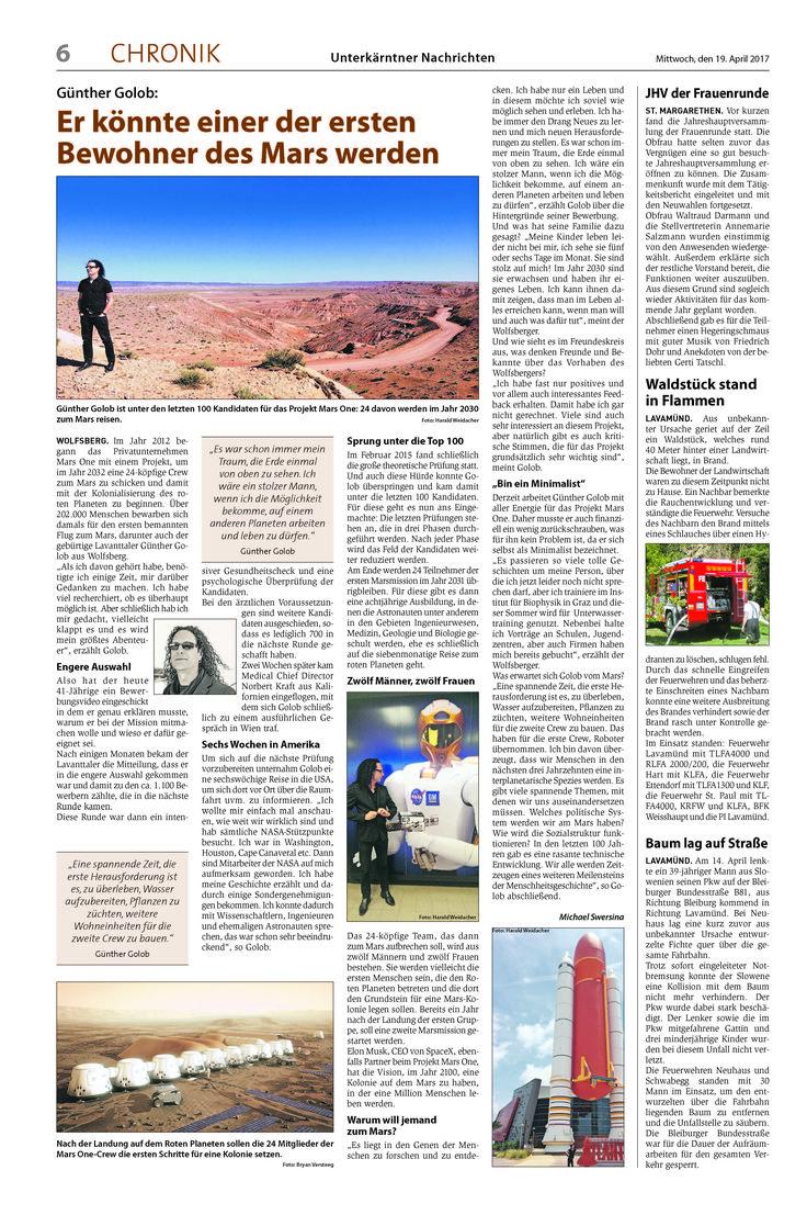Post aus meiner Heimat! Diese Woche in den Unterkärntner Nachrichten! Mail from my hometown! A big story about my adventure #marsone #marsone100 #mars100 #guenthergolob