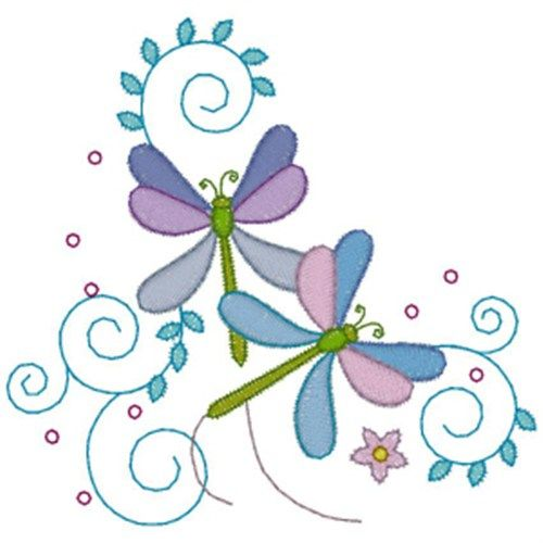 3 FREE designs per week.  AnnTheGran Free Embroidery Design: Dragonfly Flowers 2.60 inches H x 2.80 inches W