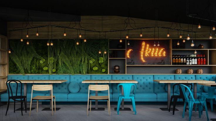 Pub design @arhia_architecture design lovers industrial design green wall
