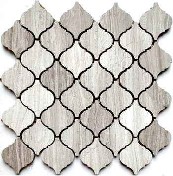 Discount Glass Tile Store - Stone Arabesque Tile - Wooden White Marble $15.29 sq.ft 12x12 Mosaic Mesh Mount Sheet, $15.29 (http://www.discountglasstilestore.com/stone-arabesque-tile-wooden-white-marble-15-29-sq-ft-12x12-mosaic-mesh-mount-sheet/)
