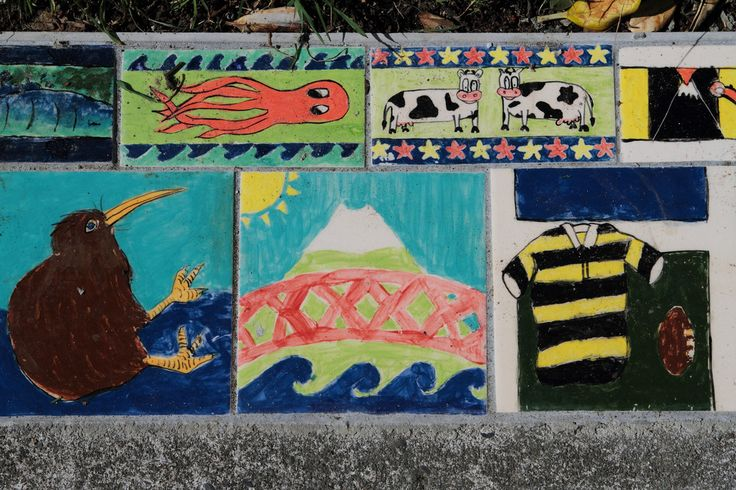 New artwork in the form of brightly painted tiles have been installed along the Cutfield Rd entrance to the Coastal Walkway. The tiles were created 10 years ago by pupils of West End, Devon Intermediate and St Josephs schools and depict Taranaki scenes and Icons.