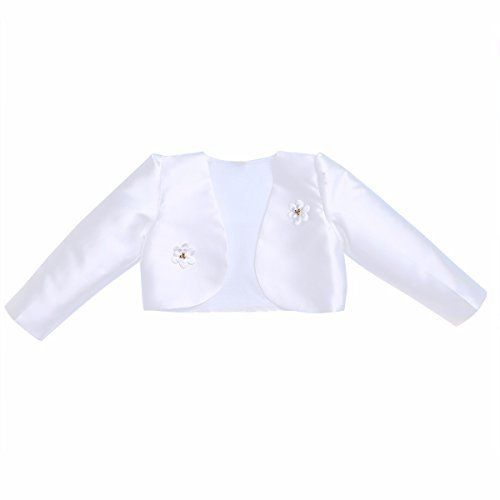 """Product review for FEESHOW Girls Long Sleeve Satin Shrug Bolero Jacket Short Cardigan Dress Cover up.  Set Include: 1Pc Bolero Condition: New with tag Material: Polyester, Satin Color: White(as pictures show)       Famous Words of Inspiration...""""No man is happy who does not think himself so.""""   Publilius Syrus — Click here for more from..."""
