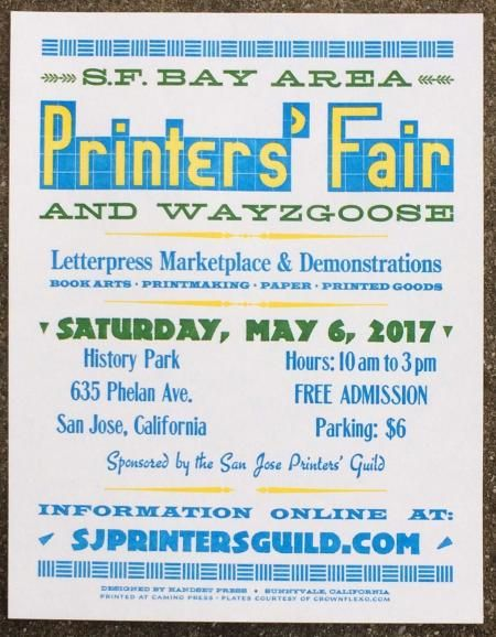 San Francisco Bay Area Printers' Fair + #Wayzgoose, Sat 6 May/17, San Jose, California, USA #letterpress #bookbinding #printmaking (BriarPress.org)