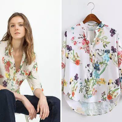 European Style Summer New Arrival Women Fashion Casual Floral Print V-neck Shirt, Female Long Sleeves Tops Chiffon Blouse