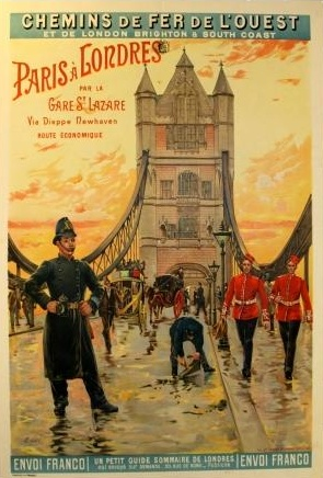 1900s Paris to London Western Railways Travel Poster, £1,750.00 at Vintage Seekers.