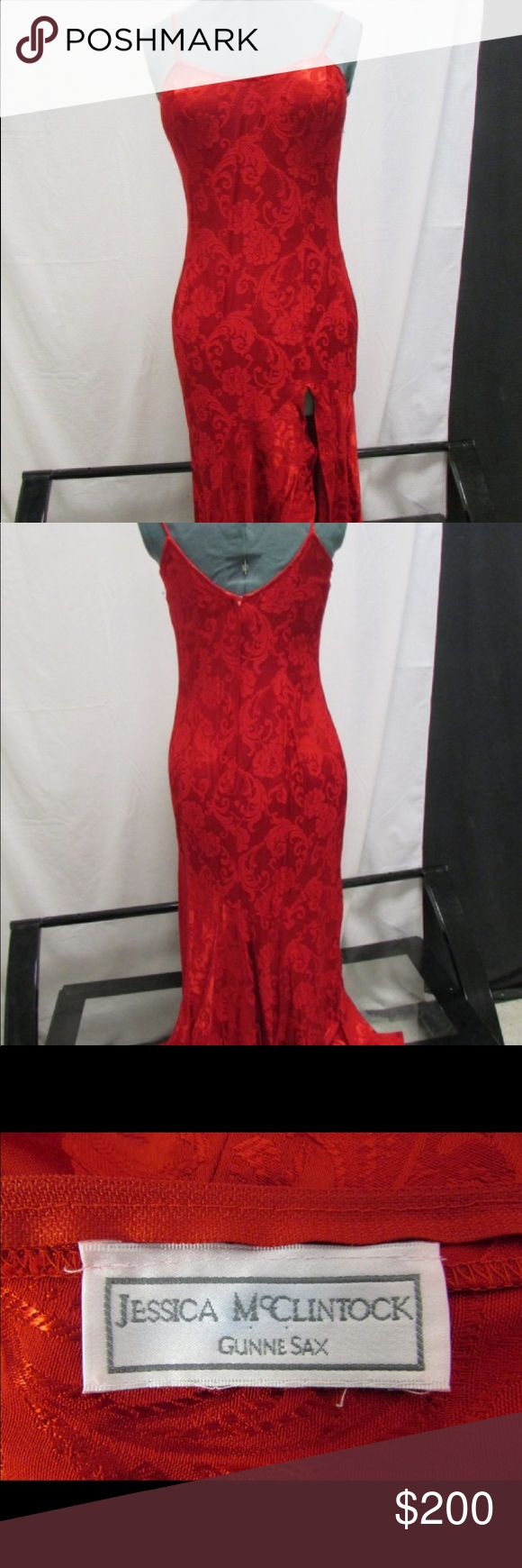 "Authentic Jessica McClintock Gorgeous blood red authentic satin floral print Jessica McClintock maxi gown with high slit. Excellent condition. Measurements:  Shoulders: 10 3/4""  Bust: 17""  Waist: 17""  Total Dress Length: 60"" Jessica McClintock Dresses Maxi"