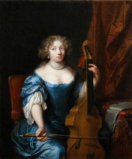 Portrait of a Lady Playing a Viola da Gamba, 1675, by Caspar Netscher (Dutch, c. 1635-1684)