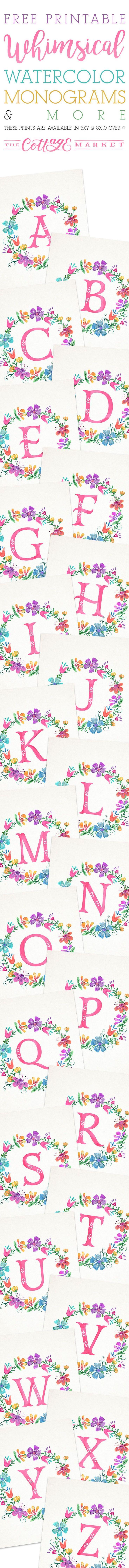 Free Printable Whimsical Watercolor Monograms