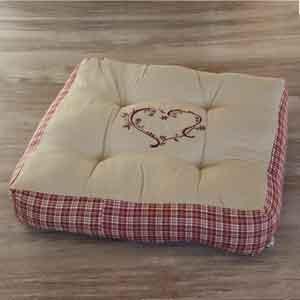Coussin pouf déco charme - coussin carré coton et lin - pouf de salon déco charme