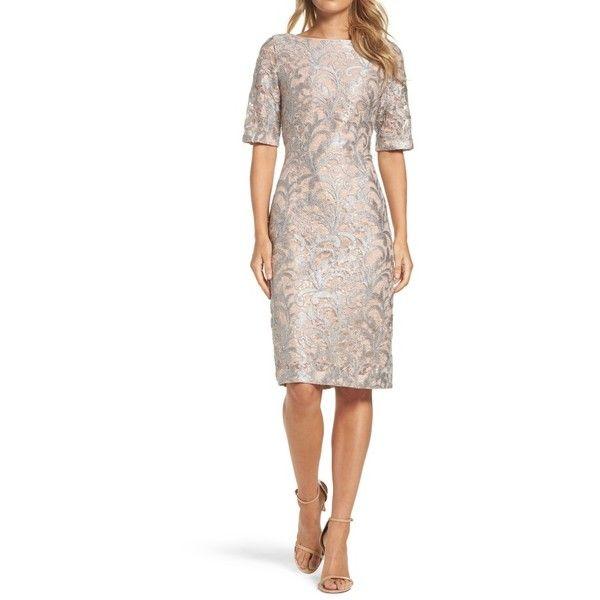 Petite Women's Eliza J Lace Sheath Dress ($178) ❤ liked on Polyvore featuring dresses, blush, petite, metallic cocktail dress, sheath cocktail dress, white lace cocktail dress, petite dresses and lace cocktail dresses