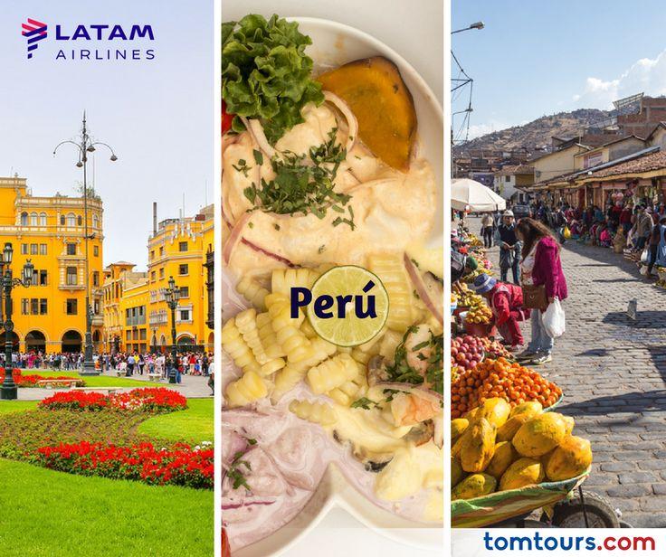 En #Perú se pueden encontrar vestigios de culturas milenarias a todo lo largo de su territorio, así como ciudades modernas, acogedoras playas, turismo de aventura y todos los paisajes inimaginables. Desde los desiertos de la costa, los pueblos de las montañas nevadas, los grandes ríos Amazónicos o hermosas ciudades como #Cuzco, #Arequipa, #Puno, #Iquitos o #Trujillo. Para obtener las mejores tarifas en aéreos con #LATAM, comuniquese hoy al (212) 947 - 3131 #TomTours #SomosLatinoamérica