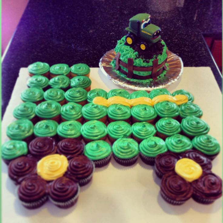 John Deere cupcake cake and cake! So want this for one of my boys birthday