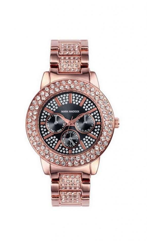 Te gusta este moderno e impactante reloj?                                             Reloj multifunción brazalete IP Rosa con esfera marrón y piedras en bisel y parte central del brazalete. Cierre desplegable. Cristal mineral. Impermeable 30m (3ATM).
