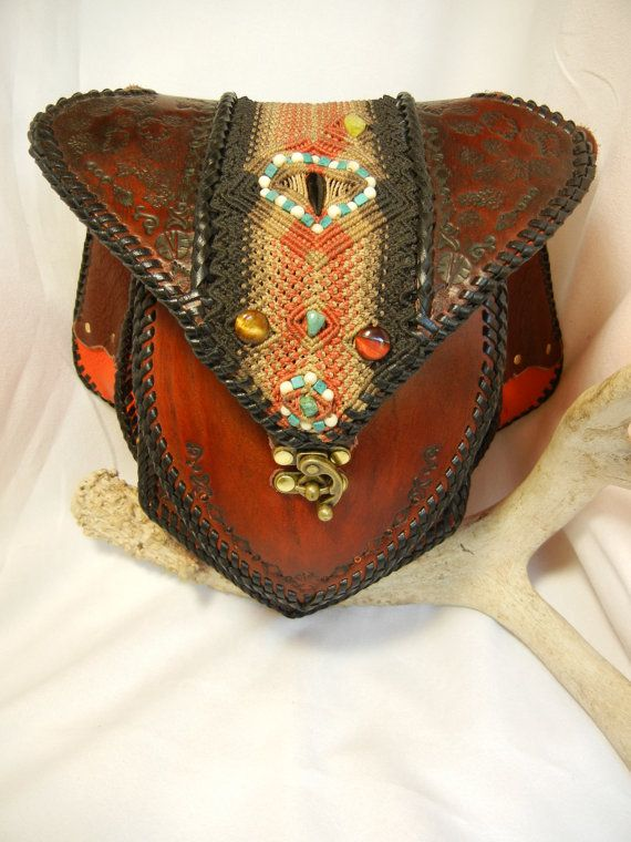 Leather Shoulder Bag with Macrame Inlay and Stones by Elquino