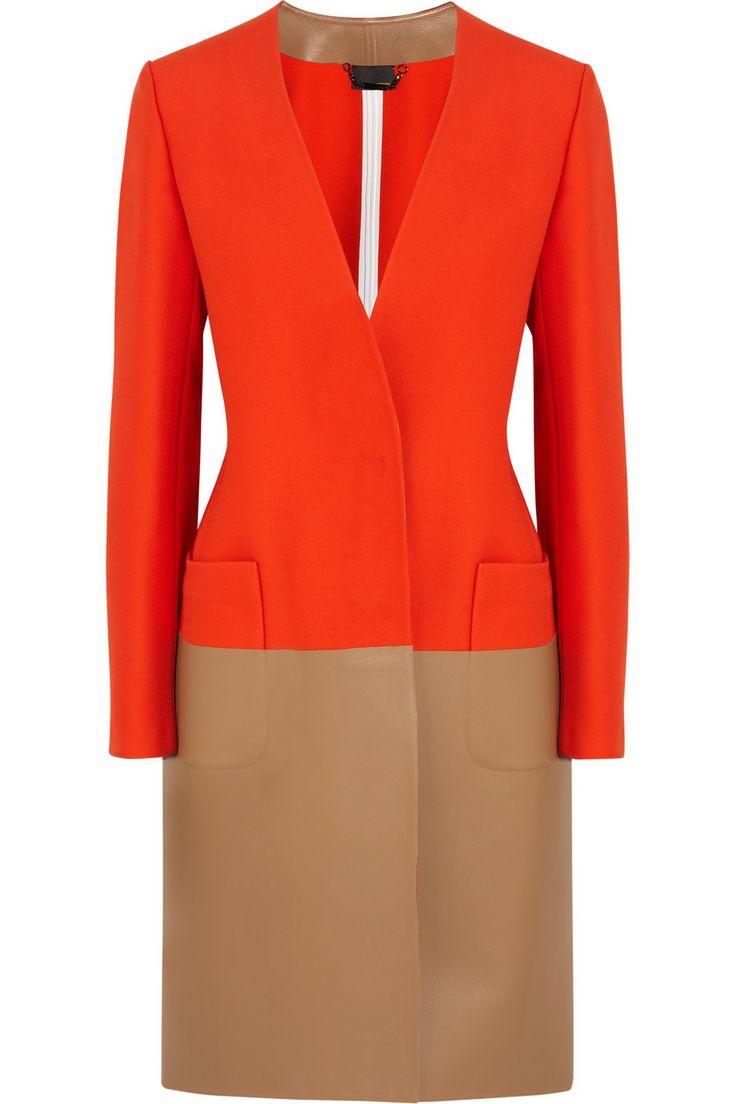 FENDI,Wool-blend and leather coat