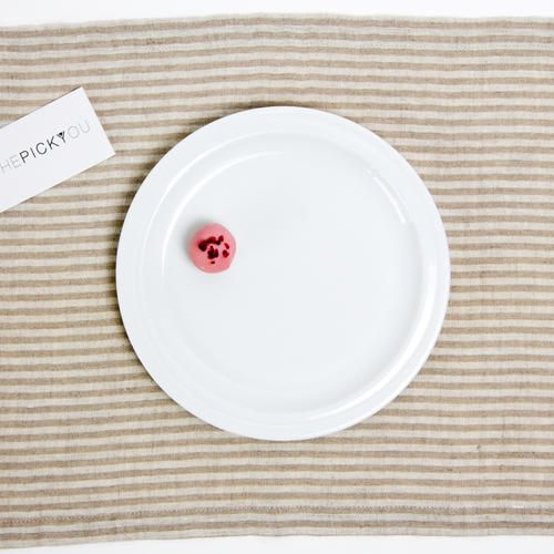 Washed Linen Placemat Striped Off White Beige | THEPICKYOU